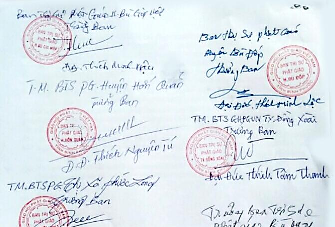 Đơn khiếu nại của Tăng Ni tỉnh Bình Phước gửi Trung ương